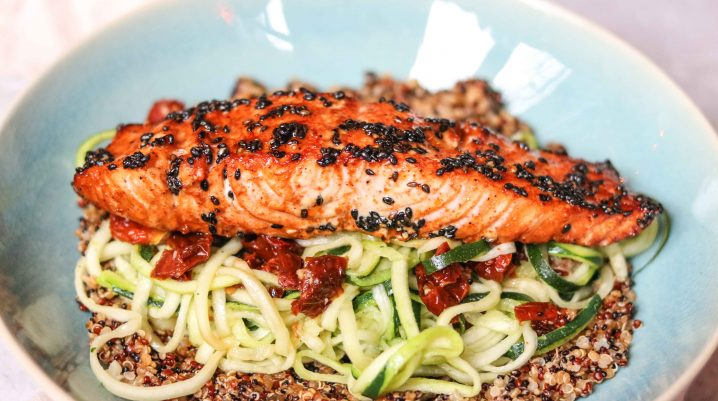Baked Salmon With Zoodles and Quinoa