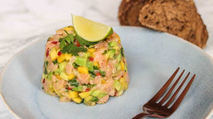 High Protein Salmon Tartar with Avocado & Mango