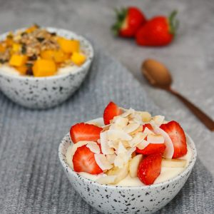 Quark Protein Fruit Bowls (Mango or Strawberry)