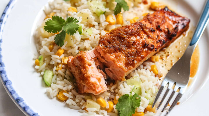 Honey & Lime Glazed Baked Salmon with Pineapple Rice