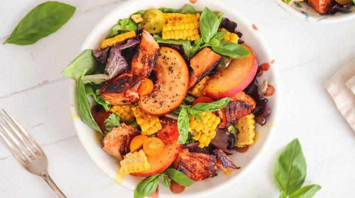 Salmon, Grilled Corn & Peach Summer Salad