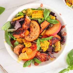 Grilled Salmon and Corn with Peach Salad